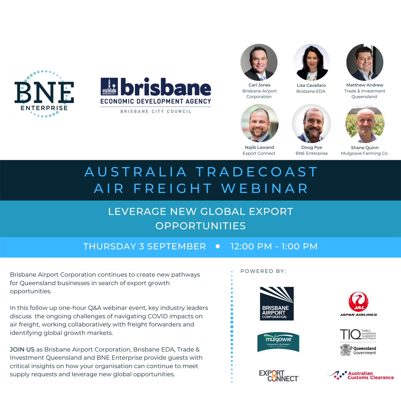 Australia TradeCoast Air Freight Webinar – Leverage new global export opportunities